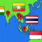 携帯電話事情を紹介するアジアの国々の地図
