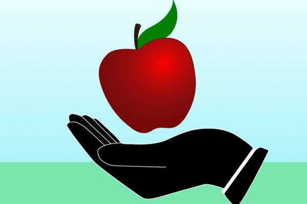 手のひらサイズの赤いリンゴ
